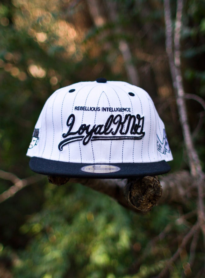 Image of Loyal K.N.G. Cursive Script White/Black Stripes Snapback Cap #03