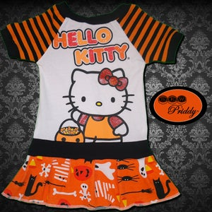 Image of **SOLD OUT** Hello Kitty Halloween dress with Halloween fabric - Size 18/24m/2T