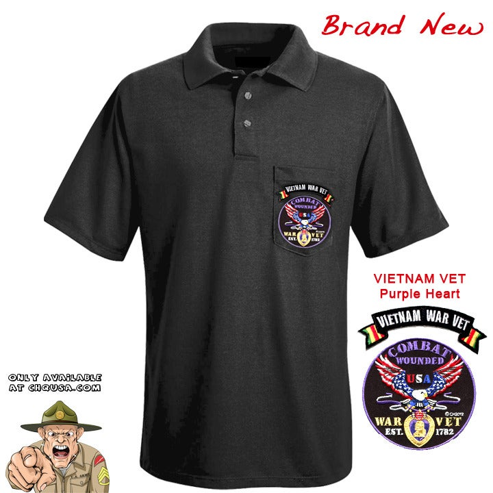 Image of MENS POLO PURPLE HEART & VIET VET TAB- PSBP24/F
