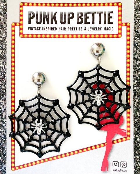 Image of Itsy Bitsy Spider Webs Of Deceit Earrings - Silver