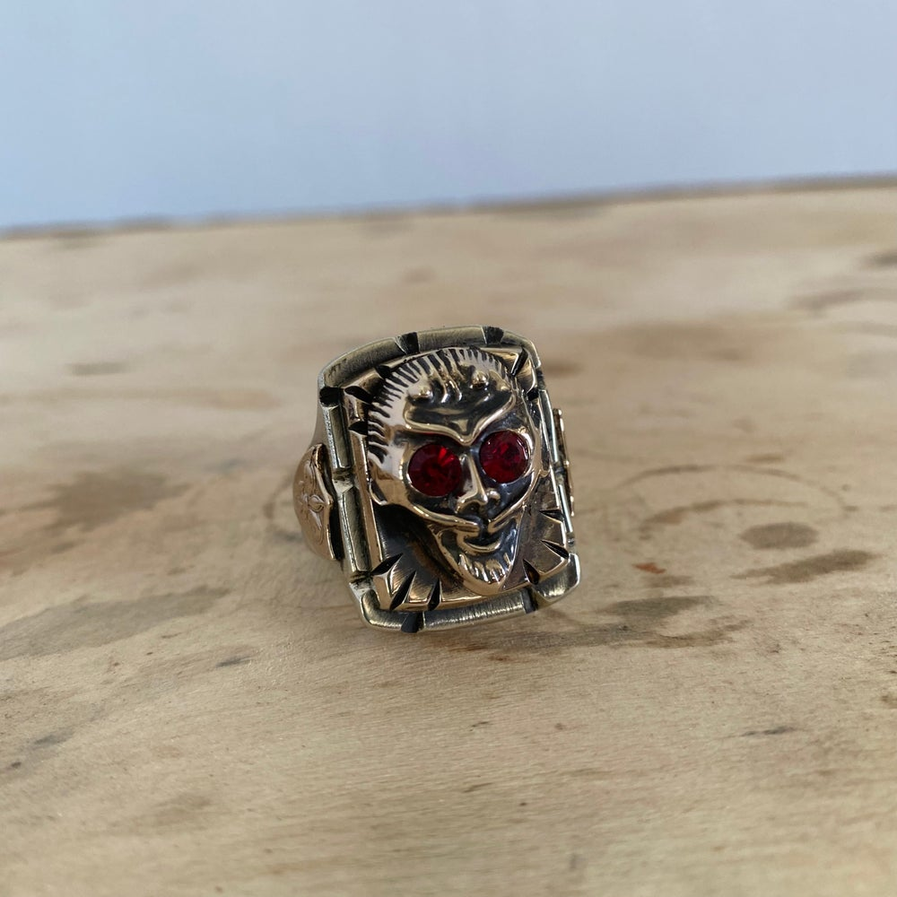DEVIL WITH RUBY EYES MEXICAN BIKER RING