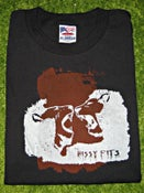 "Image of the hissy fits ""two lions"" black t-shirt, white-rust"