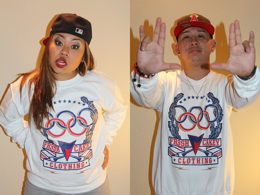 "Image of Fr3sh & Cakey ""Olympics"" Unisex Crew Neck Sweater in White"