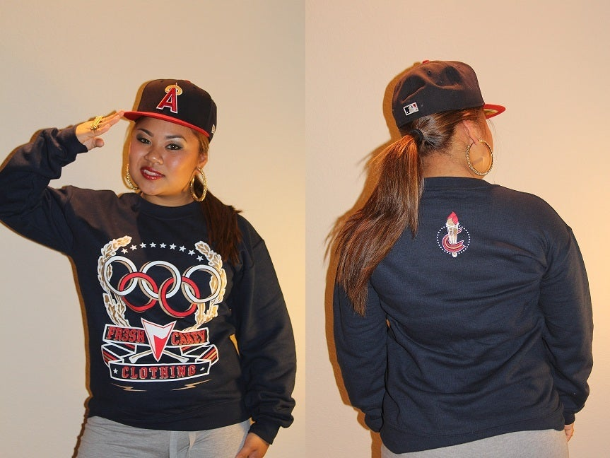 "Image of Fr3sh & Cakey ""Olympics"" Unisex Crew Neck Sweater in Navy"