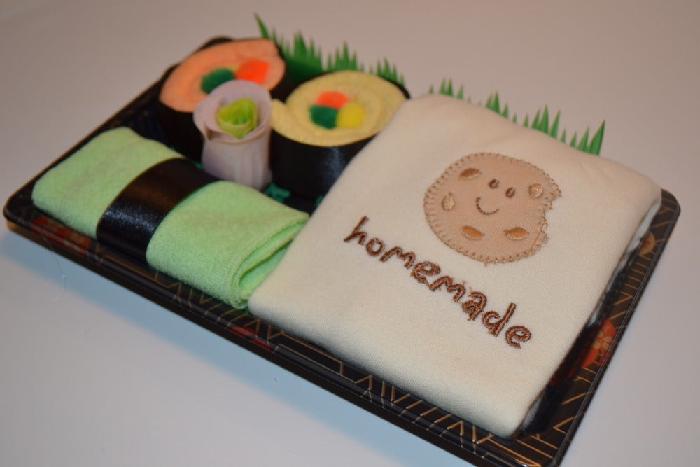 Image of Sushi, Baby! Neutral Baby Gift Set - Homemade Cookie Onesie