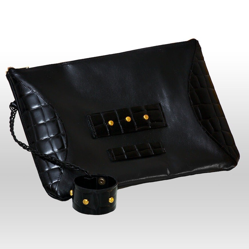 Image of Clarisse handmade leather & croco clutch - Void Black