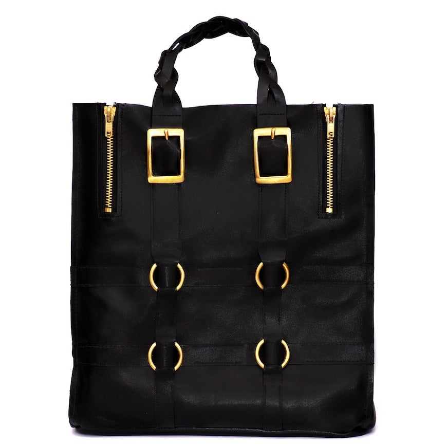 Image of Cecilia large handmade leather tote - Void Black