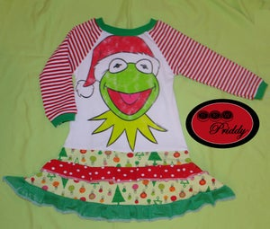 Image of **SOLD OUT** Kermit Holiday double ruffle dress - size 2/3