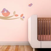 Image of Bird Nest Fabric Decal Wall Sticker Branch