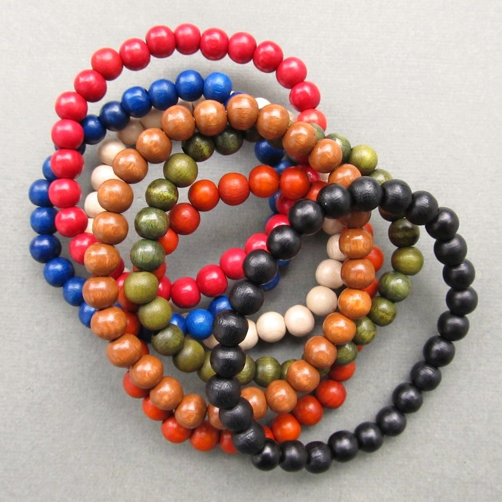 Image of Mens wooden beaded stretch bracelets - choose your colour