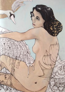 Image of 'Leda' Limited Edition Signed print with hand gold leaf detail