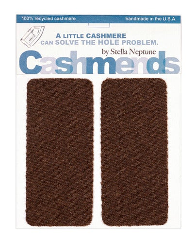 Image of    Iron-On Cashmere Elbow Patches -Dark Brown