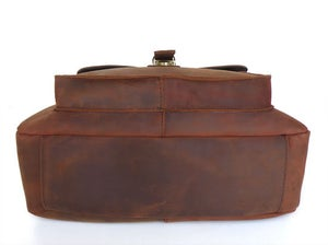Image of Vintage Handmade Antique Genuine Crazy Horse Leather Messenger Bag Satchel / iPad Bag (n81-2)