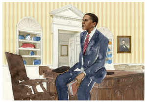 Image of OBAMA IN OVAL OFFICE POSTER