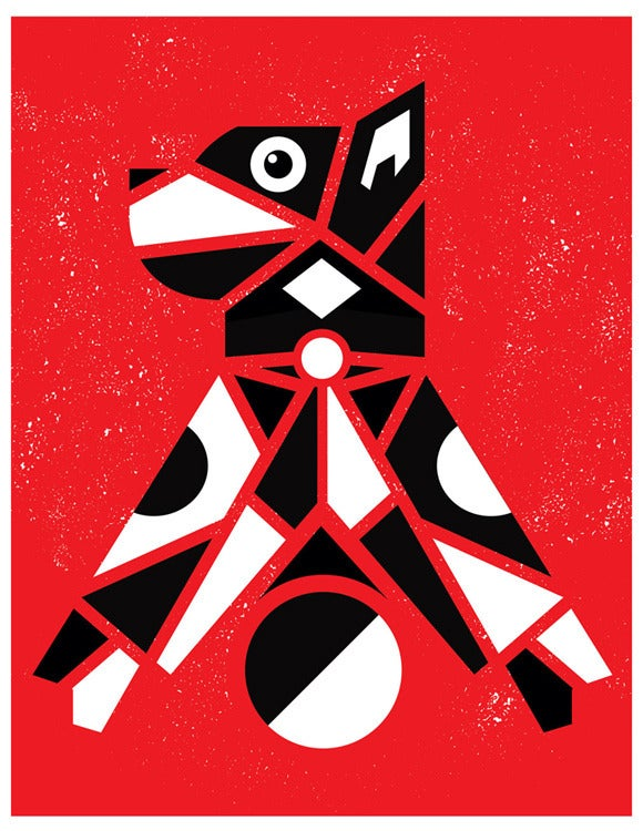 Image of Let's Play! Dog Totem-Style Screen Print
