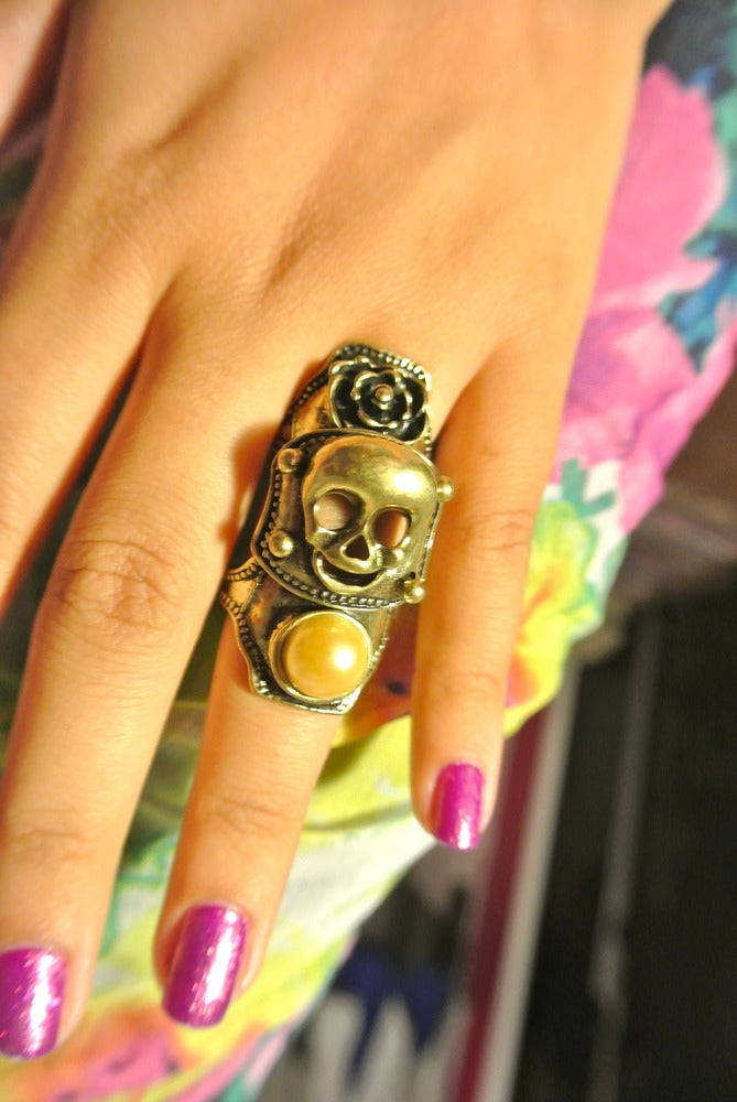 Image of Three Section Gold and Pearl with Skull Design Statement Ring