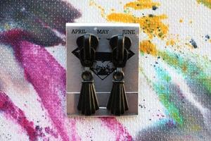 Image of Black Tassels, Zipper Pull Earrings