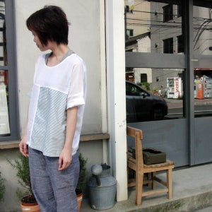 Image of Cotton puzzle Top /全棉中袖拼布上衣(code: 087)