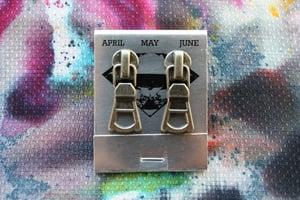 Image of Dark Silver Triangles, Zipper Pull Earrings