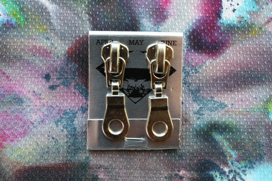 Image of Silver Holes, Zipper Pull Earrings