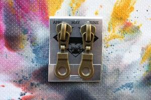 Image of Bronze Holes (Big), Zipper Pull Earrings