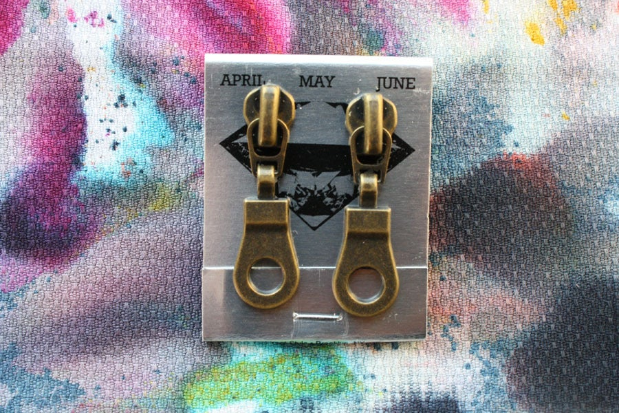 Image of Bronze Holes (Small), Zipper Pull Earrings
