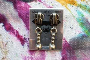 Image of Dark Silver Stacked Spheres, Zipper Pull Earrings