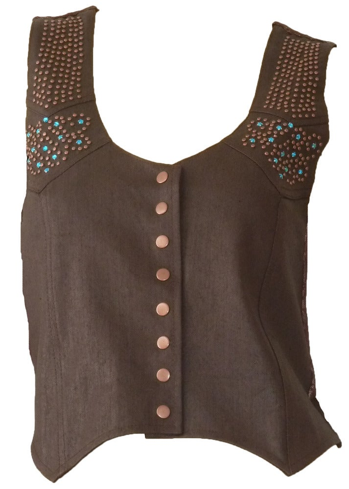 Image of Chocolate Leather Denim Vest 12W113V
