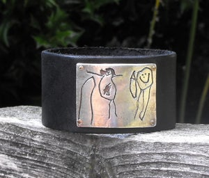 Image of YOUR CHILD'S ARTWORK - Fine Silver on Black Leather Cuff