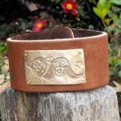 Image of YOUR CHILD'S ARTWORK - Bronze on Leather Cuff