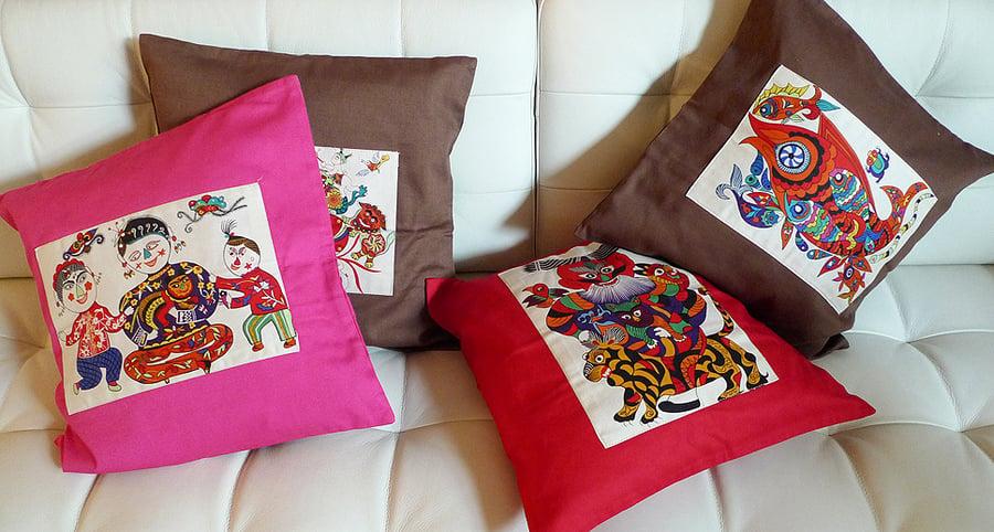 Image of folk art throw pillow cases -1