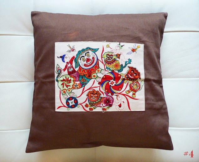 Image of folk art throw pillow cases -1