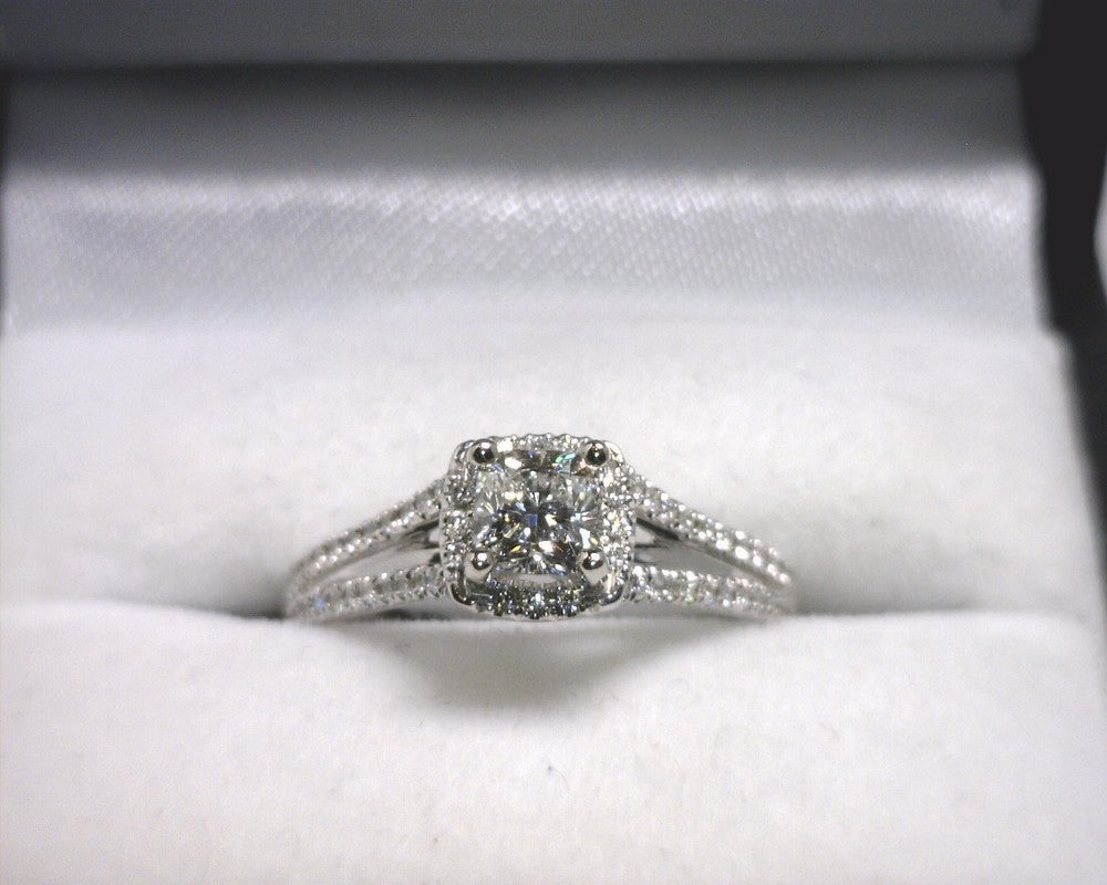 Image of 14K White Gold Diamond Engagement Ring (.50ct Cushion Center)
