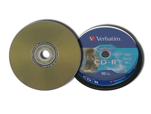 Image of 10 CD-R 700Mo 80Min 52x lightscribe Verbatim