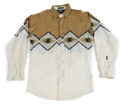 Image of Brooks and Dunn Tan Western Print Button-Up