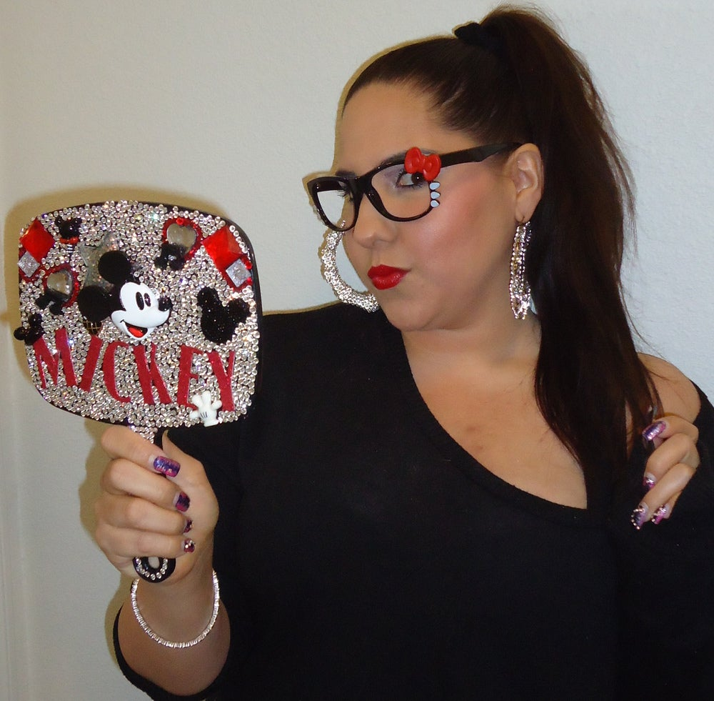 Image of ♥ Mickey Blinged out hand mirror ♥