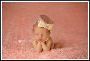 Image of 1960's Gardenia Rose Pillbox Hat for Newborn Portraiture