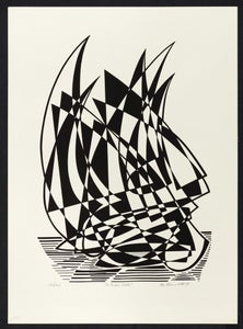 "Image of ""Full Sail"" - Lithograph of Sailboat"