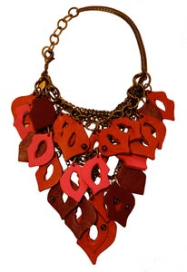 Image of Lipstick Kisses laquered leather, garnet and brass necklace