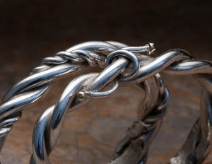 Image of Sterling Silver with 14k Gold Barbed Wire Bracelet for him