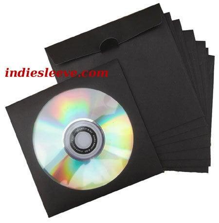Image of 50 Pochettes papier noires pour CD / DVD [rabat encoche]