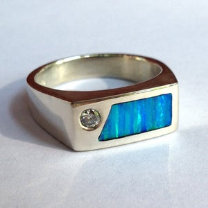 Image of Moissanite and Kyocera Opal Mens Ring