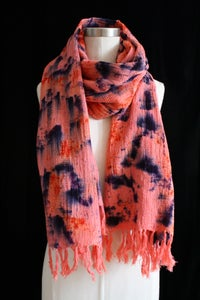 "Image of Handwoven Scarf, Coral ""Mountain Water"" Pattern"