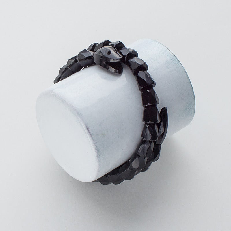 Image of Antique Victorian Mourning Jet Snake Bracelet