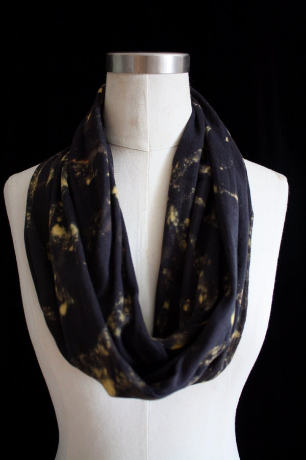 "Image of Circular Scarf, Black ""Lightning Bug"" Pattern"