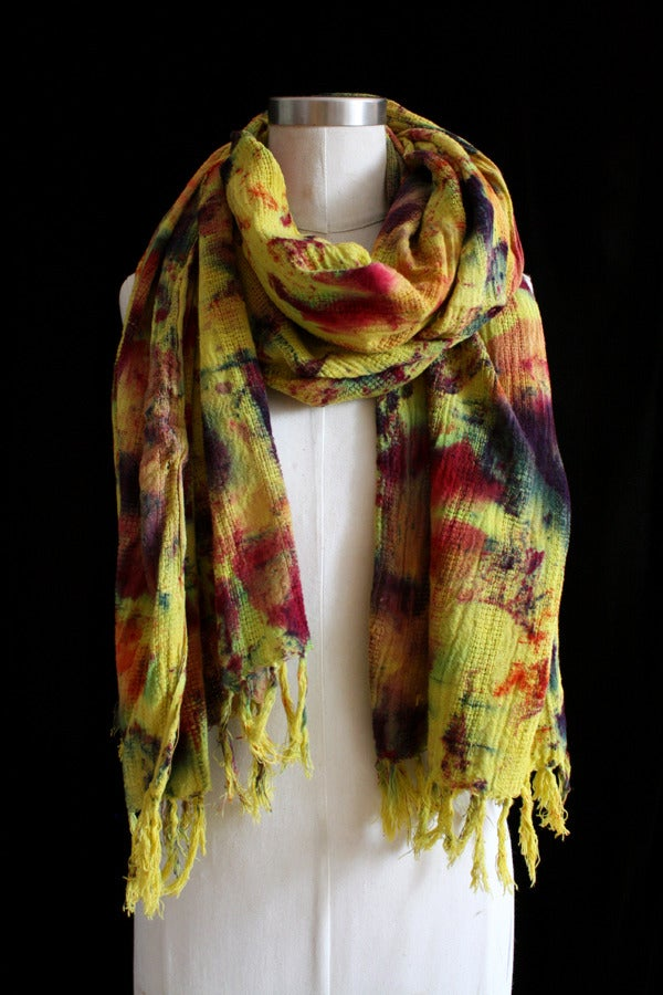 "Image of Handwoven Scarf, Chartreuse ""Sickle Spectrum"" Pattern"