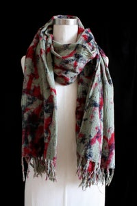 "Image of Handwoven Scarf, Sage ""Magmatic Earthquake"" Pattern"