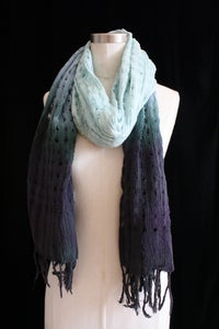"Image of Handwoven Scarf, Seafoam ""Ombre"" Checker Pattern"