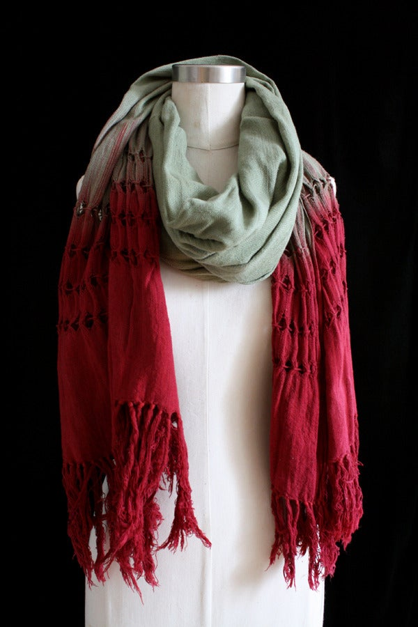 "Image of Handwoven Scarf, Sage ""Ombre"" Pattern"