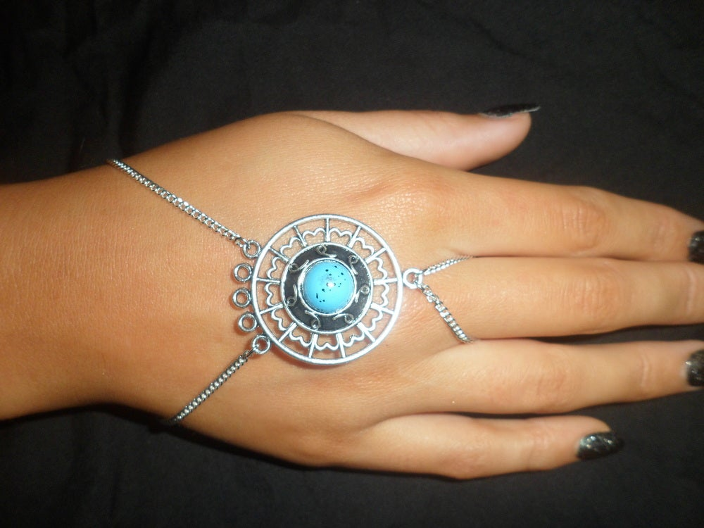 Image of Handmade Silver Blue Pendant Hand Chain